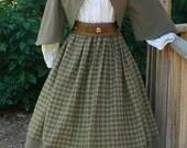 Civil War Zoave Jacket Victorian Bolero Historical Costume Homespun Plaid Skirt