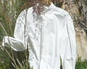 Victorian Cotton Blouse Garibaldi Style Button Up Shirt Historical