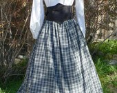 Cotton Homespun Plaid Skirt Civil War Victorian Drawstring Waist Costume