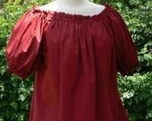 Renaissance Peasant Chemise Short Sleeve Cotton Blouse Pirate Wench Shirt LARP