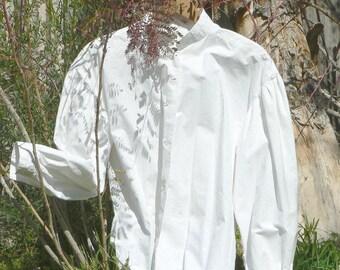 Victorian Cotton Blouse Garibaldi Style Button Up Shirt Historical