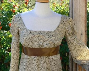 Regency Empire Waist Dress Cotton Floral Gown Historical Costume Jane Austen
