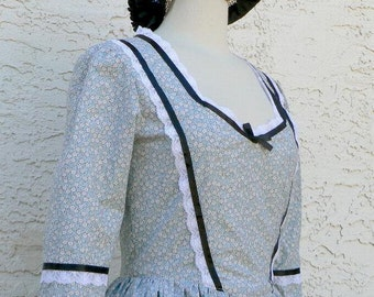 Prairie Dress Cotton Calico Victorian One Piece Historical Costume Western Cowgirl