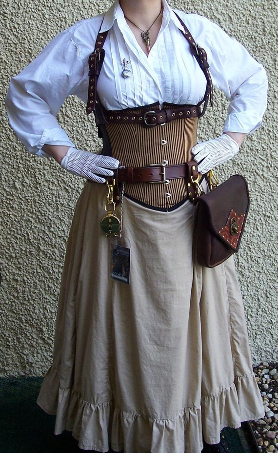 Steampunk Bustle Victorian Gored Skirt Ruffles Airship LARP