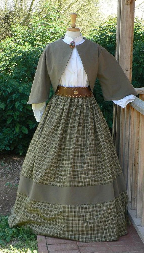 Vintage Inspired Halloween Costumes Civil War Zoave Jacket Victorian Bolero Historical Costume Homespun Plaid Skirt $99.00 AT vintagedancer.com