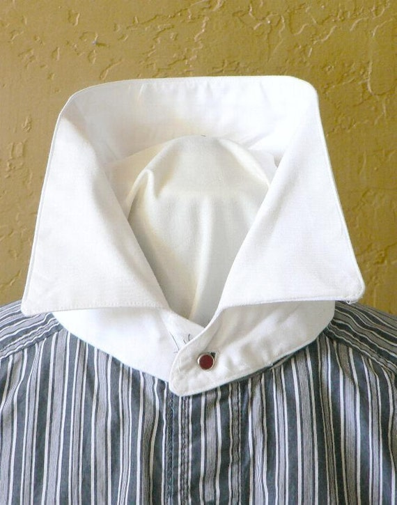 Edwardian Men's Shirts & Sweaters Detachable Victorian Collar Historical Interchangeable Neckband Tie Jabot $25.00 AT vintagedancer.com