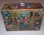 Captain America - Lunch Box - Purse - Upcycled Vintage Comic - Marvel Avengers