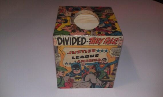Justice League - Tissue Box - Upcycled Vintage Comic - Batman - Superman - Wonder Woman - JLA