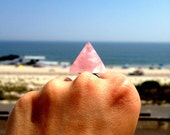 Rose Quartz for Love, Self Worth Crystal Pyramid Adjustable Ring - The Love, Self Worth and Mothering Stone