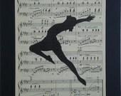 Jazz Dance Print vintage music book page art Jazz Silhouette sheet music print