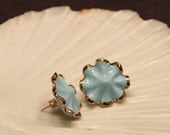 Pale Blue Ruffle Earrings