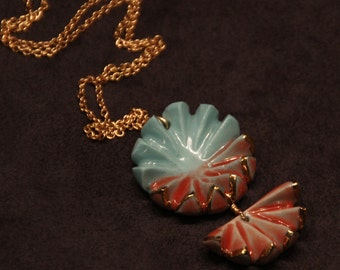 Pale Blue with Coral Shell Pendant