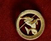Vintage 1960s Trifari Round Gold-toned Capricorn Zodiac Brooch