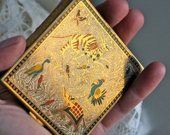1950s Volupté Brass and Enamel 2-Sided Compact with Exotic Animal Scene