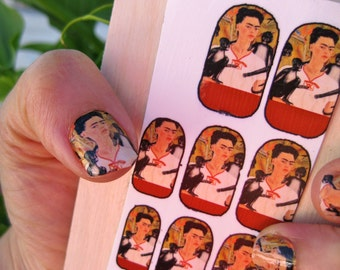 Nail Decals featuring Frida Kahlo with her Monkeys