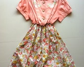 Vintage Floral Dress in Peach