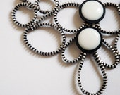 Black and White Zipper Necklace with Vintage buttons