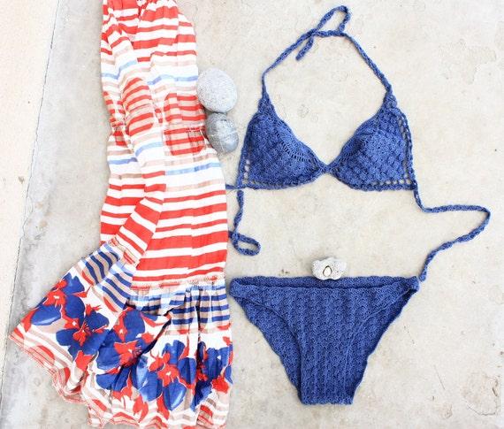 Crochet Bikini, Crochet Swimsuit, Sexy Bikini, Navy Crochet Lace Swimsuit, Bathing suit, Hand crochet bikini, Swimwear