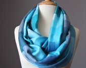Infinity Scarf - blue aqua pastel Plaid 45% silk circle scarf, loop scarf, eternity scarf, hipster, tube upcycled reconstructed