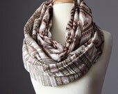 SALE Eco Infinity Scarf  100% cotton summer spring light loop tube circle Brown