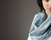 Eco Infinity Scarf  100% cotton summer spring light loop tube circle Blue grey gray sequence