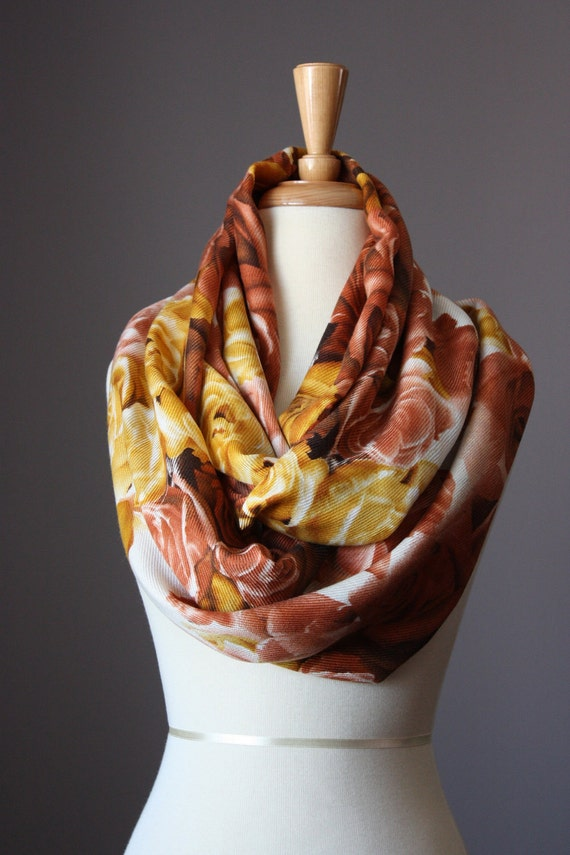 SALE Infinity Scarf 3D Floral rose print  spring light loop tube Circle soft rust upcycled reconstructed