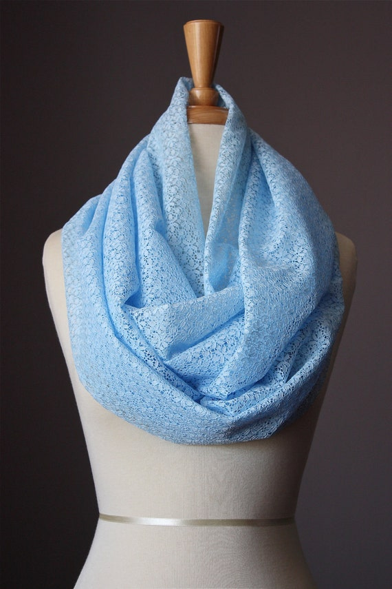 SALE Infinity Scarf Floral lace summer spring light loop tube Circle soft powder Blue sky