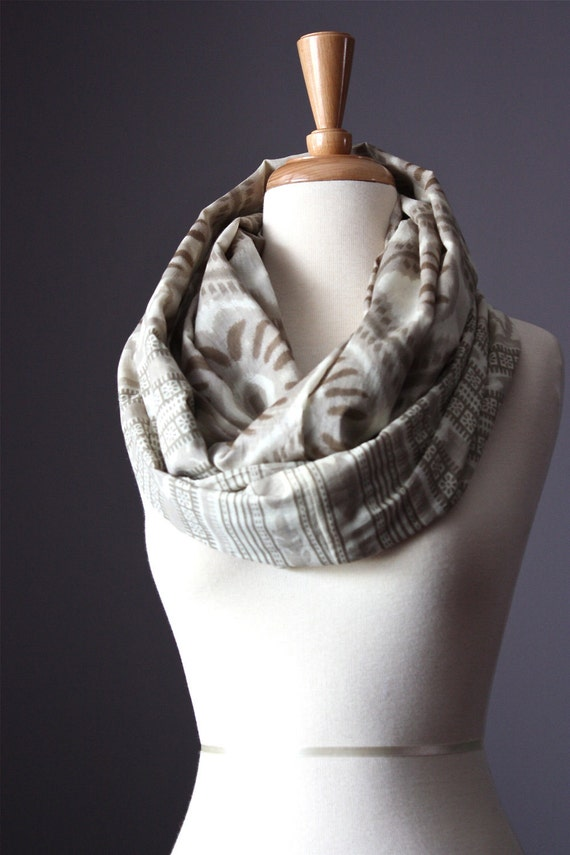 Eco Infinity Scarf  100% cotton summer spring light loop tube circle Taupe