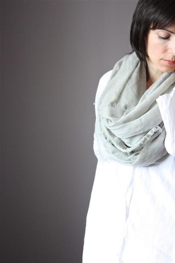 Huge Snow Cotton scarf polka dot  light sheer spring summer grey fog
