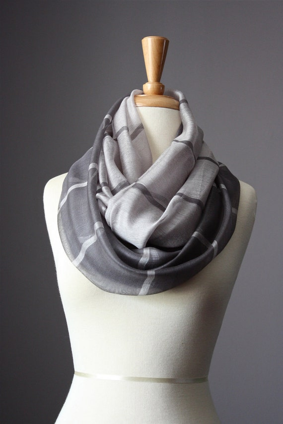 Eco Infinity Scarf  Cotton / Silk  summer spring light loop tube  soft Pewter Charcoal Grey stripes