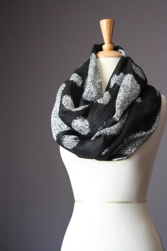 Black Linen Scarf,  Linen scarf,  Cotton scarf, Black scarf, infinity scarf, Black infinity scarf