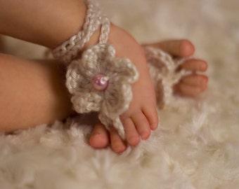 Infant-Baby Barefoot Sandals-Crochet-Bamboo Silk