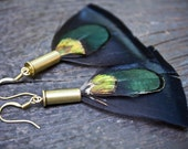 Handmade Feather Earrings - Turkey, Pheasant & Peacock Feathers w/ Brass Bullet Casing