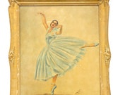 Vintage Portrait Painting with Frame by Monte: Ballerina in Blue Suit for Home Decor