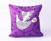 Purple bird, creative design pillow