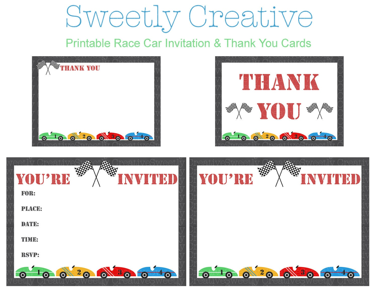 Race Car Party Invitation and Thank You Cards INSTANT – Car Party Invitations