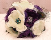 SOLD Custom Order: Fabric flower Wedding Bouquet, with rhinestone  brooches and peacock feathers - Sample