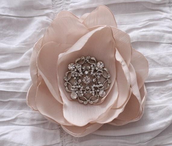 Fabric Flower hair piece, wedding fascinator, with rhinestone brooch