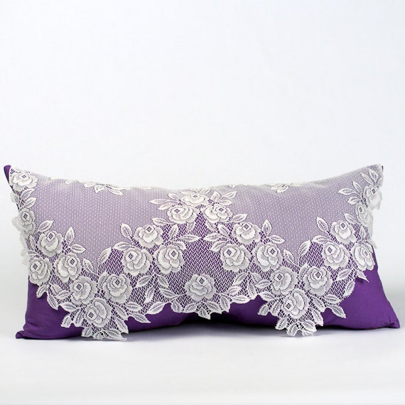 Purple Pillow Vintage Pillow Shabby Chic Pillow Victorian