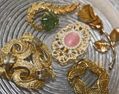 Vintage Brooches Lot 5, Gold, Fabric Rose