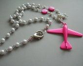 Bright Pink Airplane Necklace