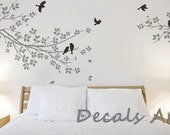 Branches with Birds - Vinyl wall sticker- wall decal- tree decals- wall murals art - nursery wall decals- Tree - Bird - Nature