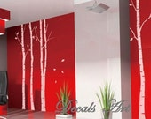 Four Birch Trees - Vinyl wall sticker- wall decal- tree decals- wall murals art - nursery wall decals- Nature- Tree