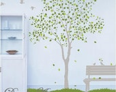 Tree with Bench - Vinyl wall sticker- wall decal- tree decals- wall murals art - nursery wall decals- Tree -Nature