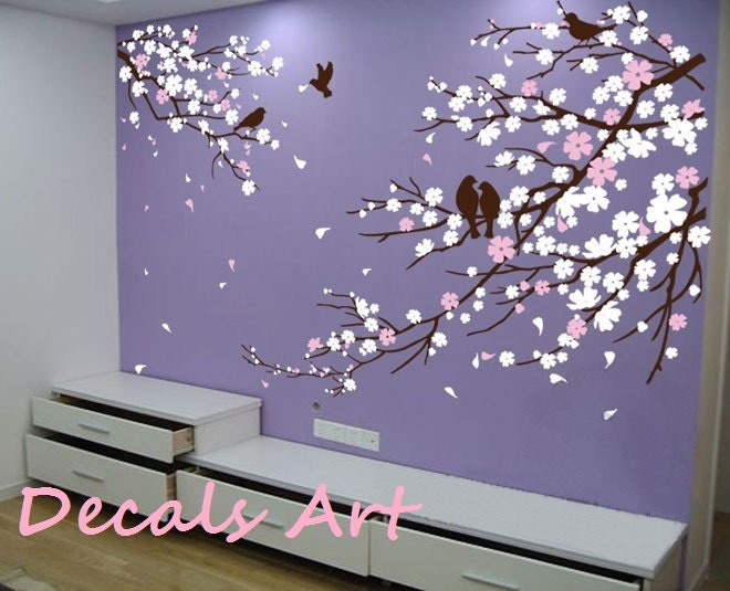 Items similar to cherry blossom branches with birds for Cherry blossom tree wall mural