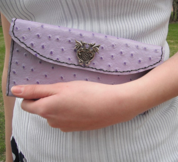 Purple Leather Clutch - Winged Dragon Snap