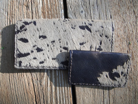 Western Travel Wallet w/ Card Case - Hair on Brown Acid Wash