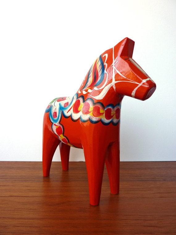 Large Vintage Red/ Orange Swedish Dala Horse