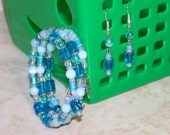 Shades of Blue Beaded Memory Wire Bracelet with Matching Earrings