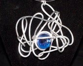 Dance Darling Jewelry Designs Aluminum Wrapped Necklace with Navy Blue Round Mosaic Gem
